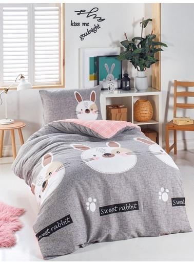 Eponj Home Junior Nevresim Seti Tek Kişilik Tavşancık A.Kahve-Gri-Pembe Gri
